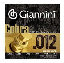 Jogo De Cordas Giannini Para Violão Aço Cobra 012 -