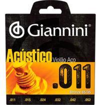 Jogo de cordas giannini violao acustico aço 0,11 gespw -