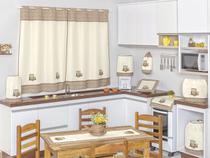 Jogo De Cozinha Com Cortina Bianca 09 Peças - Elegance Enxovais