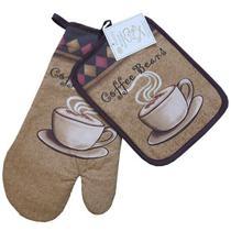 Jogo de Cozinha Luva de Forno e Descanso de Panelas Niazitex Coffee 2 peças -