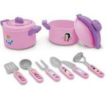 Jogo de cozinha plastico panela pressao princesas toyng -