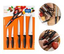 Jogo de facas inox p/ cozinha com tesoura 6pcs preto 2556 brinox -