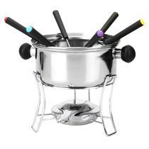 Jogo de fondue de inox com 10 peças 800ml - Eu Quero Presentear