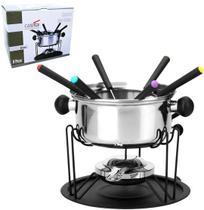 Jogo de fondue de inox com 6 garfos/suporte / prato/fogareiro 410ml - Casta