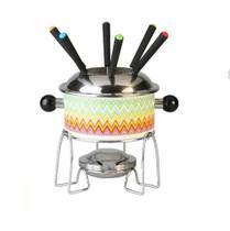 Jogo de fondue de inox decorado com 6 garfos / panela / suporte / fogareiro 1,1l - Casita
