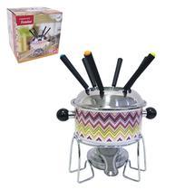 Jogo de fondue de inox decorado com 6 garfos / panela / suporte / fogareiro 1,1l - Imporiente