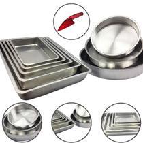 Jogo De Forma Assadeira Tabuleiro Bolo Aluminio Alta 8 Peças - Aluminio Extra Forte