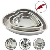 Jogo de Forma Bolo  Torta Formato Coração 3 Peças Com Faca - Aluminio Extra Forte