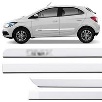 Jogo de Friso Lateral Chevrolet Onix 2012 a 2018 Branco Puro Grafia Cromada Alto Relevo - Nk Brasil