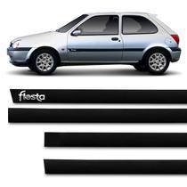 Jogo de Friso Lateral Tipo Borrachão Fiesta 1996 a 2003 Preto 2 Portas Grafia Alto Relevo - Sanfil