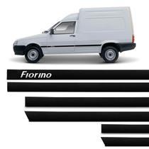Jogo de Friso Lateral Tipo Borrachão Fiorino 1997 a 2018 Preto 2 Portas 6 Peças Grafia Alto Relevo - Sanfil