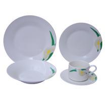 Jogo de Jantar 20 Peças Porcelana Innova - Floral Lily 25,5 cm - Evolux