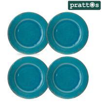 Jogo de Jantar 4 Pratos Rasos 27cm Azul Turquesa em Louça Melamina - Prattos -