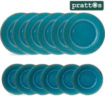 Jogo de Jantar com 6 Pratos Rasos e 6 Sobremesa Azul Turquesa em Louça Melamina - Prattos -