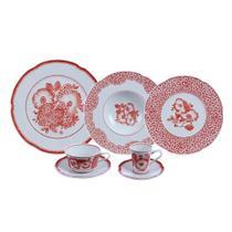 Jogo de jantar com chá e café 30 peças coralina - Vista Alegre