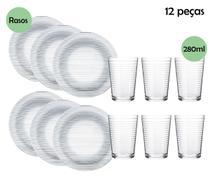 Jogo de Jantar Prato e Copos de vidro nadir figueiredo 12 peças -