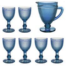 Jogo de Jarra e 6 Taças Bonjour Azul Escuro - Bela Home