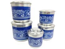 Jogo de Latas Alumínio Porta Mantimento Nomes 5pçs Azul - Alumínio Extra Forte