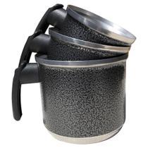 Jogo de Leiteiras Canecos Canecas Fervedor de Alumínio Batido Kit 3 Peças Preto Craqueado - Epm Home