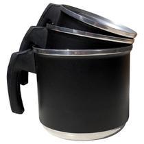 Jogo de Leiteiras Canecos Canecas Fervedor de Alumínio Batido Kit 3 Peças Preto - Epm Home
