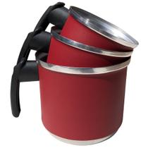 Jogo de Leiteiras Canecos Canecas Fervedor de Alumínio Batido Kit 3 Peças Vermelho - Epm Home