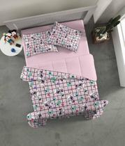 Jogo de Lençol Casal com Elástico 3 Peças Malha - Disney - Minnie Lhama - Portallar