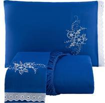 Jogo de Lençol Casal Queen 3 Peças Azul - Chelli & Calore Enxovais