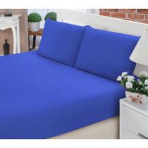 Jogo de Lençol Casal Queen Liso Pati 03 Peças Tecido Microfibra - Azul Royal - Paulo Cezar Enxovais
