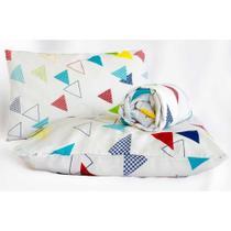 Jogo de Lençol Casal Queen Marina 03 Peças Tecido Misto - Triângulos -