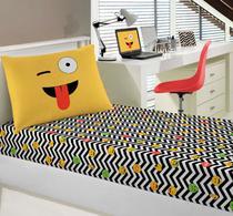 Jogo de Lençol Infantil Solteiro Malha Joy Emojis - Portallar
