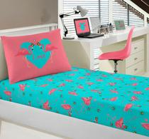 Jogo de Lençol Infantil Solteiro Malha Joy Flamingos - Portallar