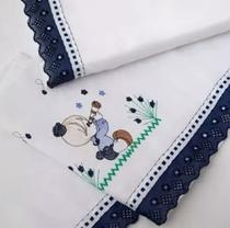 Jogo de Lençol para Berço Azul Marinho Boneco 3pçs 100% Algodão Kit Lençol de Berço Azul Marinho - Variedades Enxovais