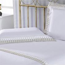 Jogo De Lençol Queen 233 Fios Luxury 4 Peças Branco Plumasul -