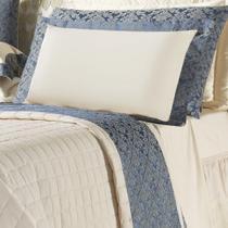 Jogo de Lençol Queen Size Lumiere 4 Peças Algodão 150 Fios - Azul - A decorativa