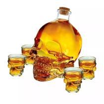 Jogo de licoreira e 4 copos shot caveira - Lazi -