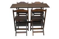 Jogo de Mesa 120x70 Com 4 Cadeiras Dobráveis Imbuia - Top Madeira - Top Madeiras