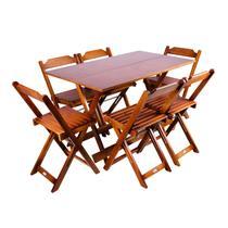 Jogo De Mesa 1,20x70 Com 6 Cadeiras Dobráveis De Madeira Cor Imbuia - Móveis Britz -