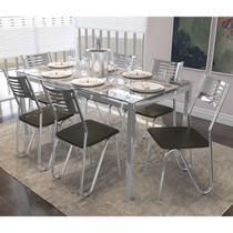 Jogo De Mesa 6 Cadeiras Kappesberg CMC042CR-21 Crome Cromado/Marrom -