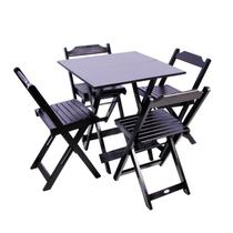 Jogo De Mesa 70x70 Com 4 Cadeiras Dobráveis De Madeira Cor Preto - Móveis Britz -