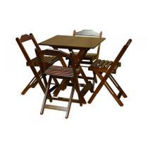 Jogo de Mesa 70x70 Com 4 Cadeiras Dobráveis Imbuia - Top Madeira - Top Madeiras