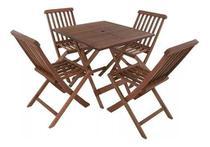 Jogo de Mesa com 4 cadeiras de Madeira  para Jardins Piscinas Varanda - Alf Móveis