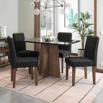 Jogo de Mesa de Jantar Ana Castanho Com Vidro Preto Com  4 Cadeiras Ana Castanho Veludo Preto New Ceval Móveis -