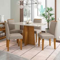 Jogo de Mesa de Jantar Ana Ypê  Com Vidro Off White Com  4 Cadeiras Ana  Cor Ype New Ceval Móveis -