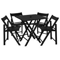 Jogo De Mesa Dobravel 4 Cadeiras De Madeira Ideal Para Bar E Restaurante Classic Preto Com Suporte Para Ombrelone - Une Móveis