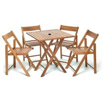 Jogo De Mesa Dobravel 4 Cadeiras De Madeira Ideal Para Bar E Restaurante Gourmet Castanho Com Suporte - Une Móveis