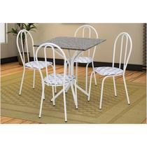 Jogo de Mesa e 04 Cadeiras Thais com Tampo em Madeira/MDF Branca/Assento Capitone - Artefamol -