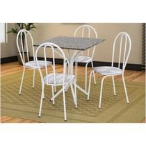 Jogo de Mesa e 04 Cadeiras Thais com Tampo em Madeira/MDF Branca/Assento Linho - Artefamol -
