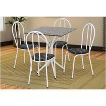 Jogo de Mesa e 04 Cadeiras Thais com Tampo em Madeira/MDF Branca/Assento Preto Floral - Artefamol -
