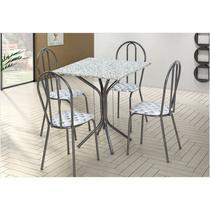 Jogo de Mesa e 04 Cadeiras Thais com Tampo em Madeira/MDF Craquelada/Assento Capitone - Artefamol -