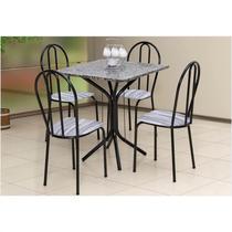 Jogo de Mesa e 04 Cadeiras Thais com Tampo em Madeira/MDF Craquelada/Assento Linho - Artefamol -
